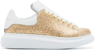 Alexander McQueen gold oversized leather glitter sneakers