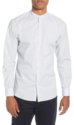 Selected Port Slim Fit Band Collar Button-Up Shirt
