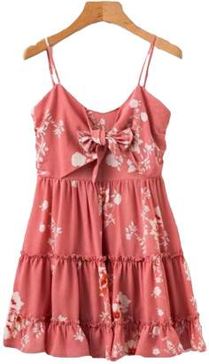 Goodnight Macaroon 'Derica' Floral Print Front Tied Ruffle Peplum Dress