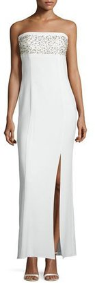 Laundry By Shelli Segal Strapless Embellished Column Gown, Warm White $995 thestylecure.com
