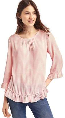 Print ruffle blouse $59.95 thestylecure.com