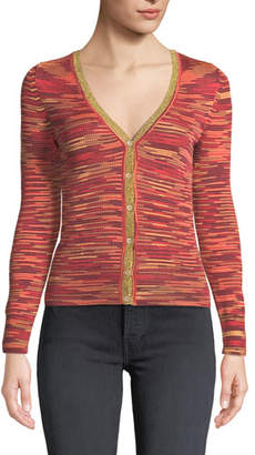 M Missoni Long-Sleeve V-Neck Space-Dye Cardigan