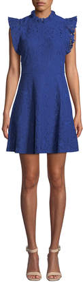 Alexia Admor Ruffle-Sleeve Lace Fit-&-Flare Dress
