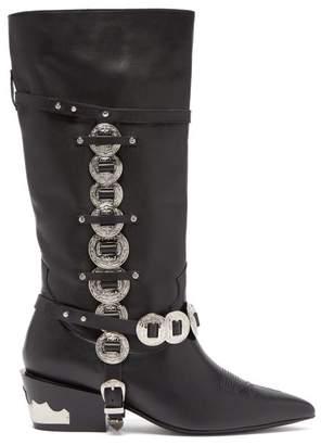 Toga Western Embellished Leather Boots - Womens - Black