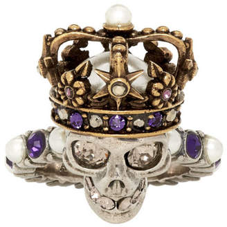 Alexander McQueen Silver and Gold King Ring