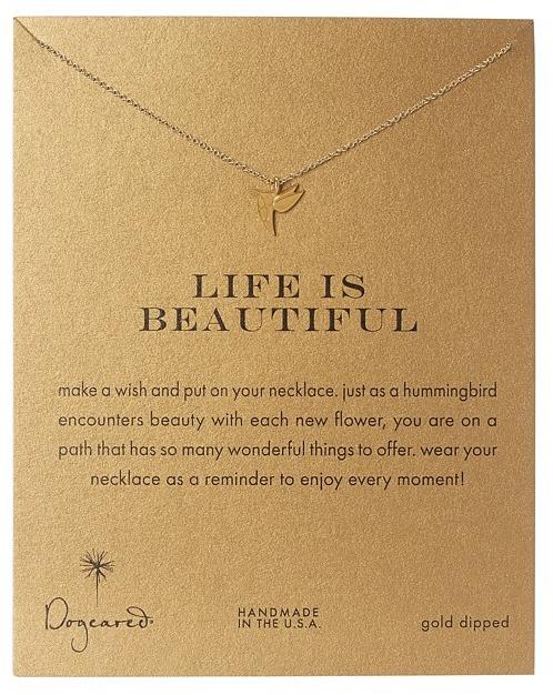 Dogeared - Life is Beautiful Hummingbird Reminder Necklace