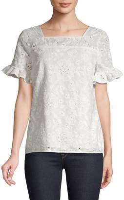 Karl Lagerfeld Paris Ruffle-Sleeve Cotton Top