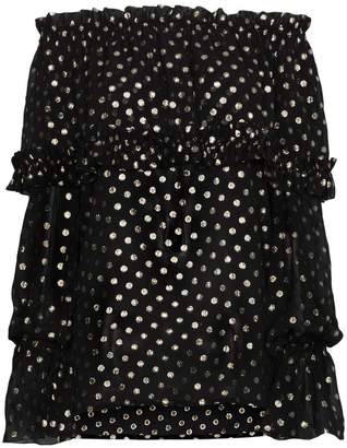 Saint Laurent off-shoulder polka dot silk blouse