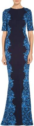 St. John Cool Tones Brocade Knit Gown