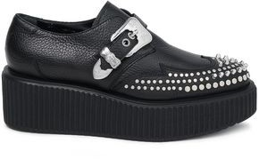McQ Nevada Studded Pebbled-leather Platform Brogues