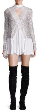 Free People Tell Tale Lace Keyhole Long Sleeve Tunic $128 thestylecure.com