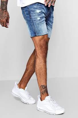 boohoo Skinny Stretch Denim Short With Frayed Hem