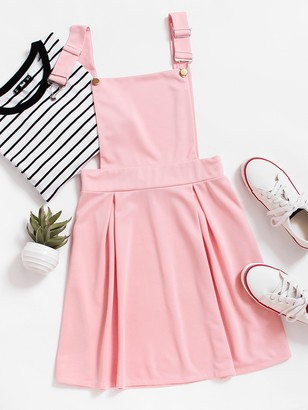 Shein Pleated Zip Up Back Pinafore Dress
