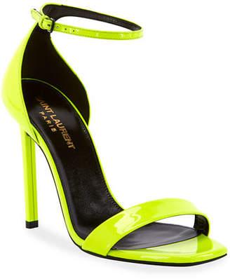 Saint Laurent Amber Neon Leather Sandals