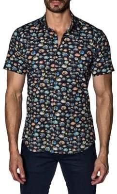 Jared Lang Fish Cotton Button-Down Shirt