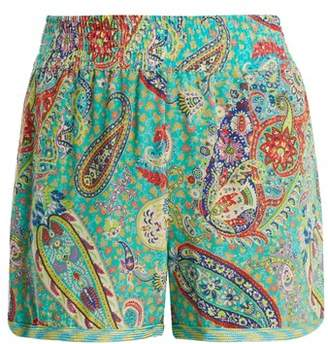 Etro Paisley Print Silk Crepe Shorts - Womens - Green Multi