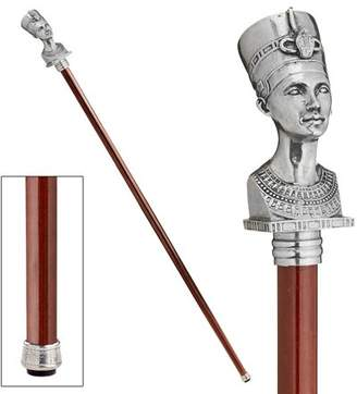 Toscano Design The Padrone Collection: Bust of Egyptian Queen Nefertiti Pewter Walking Stick