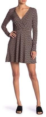 Love, Fire Chevron Patterned Long Sleeve Mini Dress