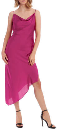 Miss Shop Magenta Asymmetrical Hem Slip Dress