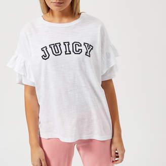 Juicy Couture Women's Juicy Logo Ruffle Sleeve Graphic T-Shirt
