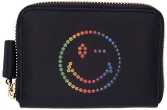 Anya Hindmarch Navy Small Rainbow Wink Round Zip Wallet