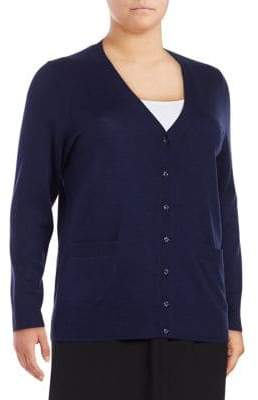 Lord & Taylor Plus Merino Wool Button-Front Cardigan