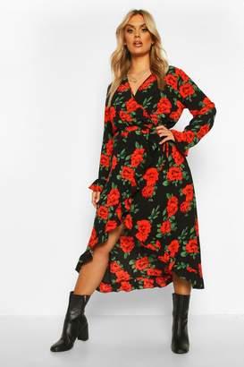 boohoo Plus Rose Floral Ruffle Wrap Midi Dress