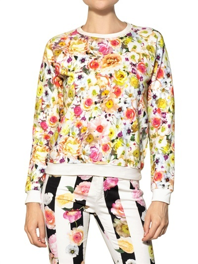 MSGM Flower Printed Cotton Fleece Sweatshirt