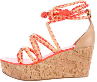 Tory Burch Tory Burch Lace-Up Cork Wedges