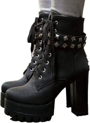 c495ad8ed7f0 DecoStain Women s New Platform Lace up Rivet Strap Ankle Boots Punk Shoes