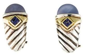 David Yurman Dyed Chalcedony & Iolite Earclip Earrings