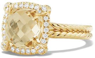 David Yurman Ch'telaine Pavé Bezel Ring with Champagne Citrine and Diamonds in 18K Gold