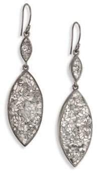 Marquis Raw Sliced Diamonds & Sterling Silver Double-Drop Earrings