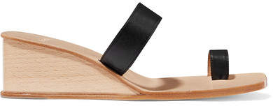 LOQ - Cadiz Leather Wedge Sandals - Black