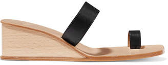 LOQ - Cadiz Leather Wedge Sandals - Black