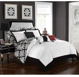 Hotel Collection Chic Home 8-Piece Lalita Grey and White REVERSIBLE Medallion printed PLUSH Twin Bed In a Bag Comforter Set Grey With sheet set