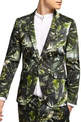 Topman Ultra Skinny Fit Palm Print Suit Jacket