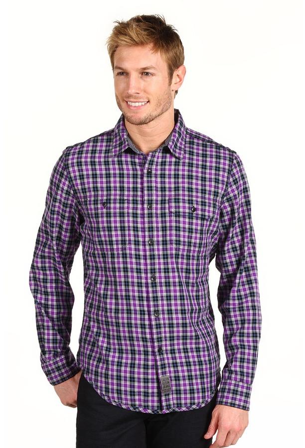 Calvin Klein Jeans L/S Military Tumble Plaid Shirt (Quasar Purple) - Apparel