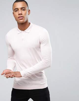 Asos Knitted Muscle Fit Polo Shirt In Dusty Pink