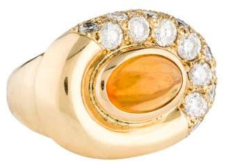 Ring 18K Mexican Fire Opal & Diamond