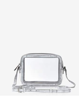 GiGi New York Collins Crossbody In Clear Bag With Silver Camo Trim