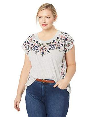Lucky Brand Women's Plus Size Floral Garden Embroidered TEE