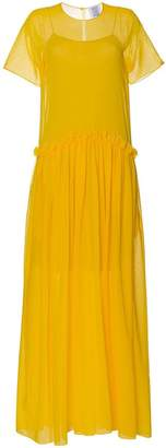 Rosie Assoulin semi sheer ruffle long silk dress