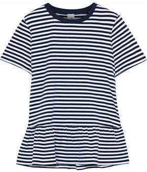 Iris & Ink Maisy Striped Stretch-Cotton Peplum T-Shirt