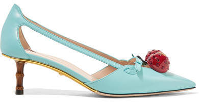 Gucci - Embellished Leather Pumps - Turquoise