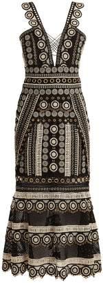 Jonathan Simkhai Deep V-neck eyelet-embellished macramé-lace dress