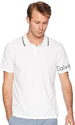 Calvin Klein Men's Short Polo with Printed Sleeve Logo