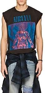 "Madeworn Men's ""Nirvana"" Distressed Cotton T-Shirt - Black"