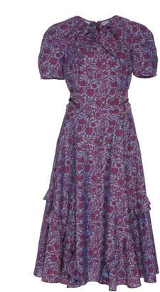 Zac Posen Ruffled Liberty Cotton Midi Dress