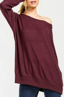 Cherish Burgundy Knit Top